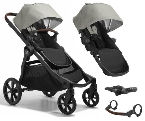Baby Jogger City Select2 Twin Tandem Double Stroller w Second Seat Frosted Ivory