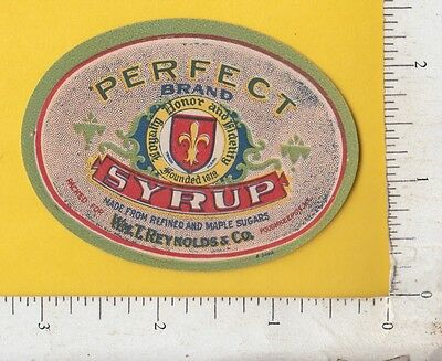 9542 William T. Reynolds Perfect Syrup 1920 bottle label Poughkeepsie, NY maple