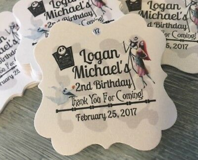 Nightmare Before Christmas Favor tags, Halloween Birthday Party Jack and Sally](Halloween Favor)
