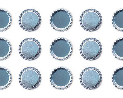"""500 PCS FLAT 1"""" CHROME SILVER BOTTLE CAPS LINERLESS Flattened No Liners"""