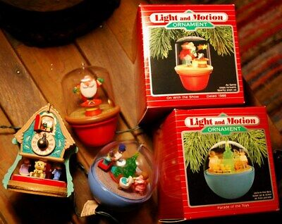 Set 3 Different HALLMARK LIGHT & MOTION Christmas Ornaments/ 2 w boxes/ XCLNT   ()