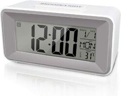 SmileMind Digital Alarm Clock, Small LCD Clock with Sound Control Light, 12/24