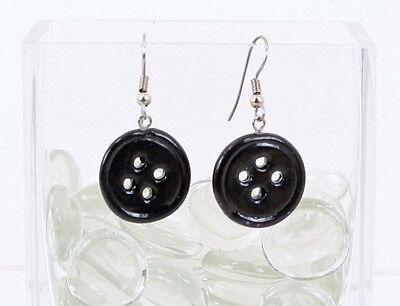 Coraline Black Button Earrings - Halloween Cosplay Handmade Polymer Clay ()