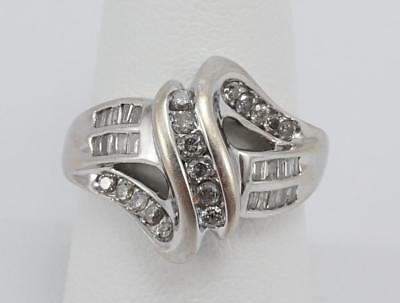 10K white gold ladies sz 8.75 cocktail ring w/ diamonds 4.2g 10k Gold Cocktail Rings