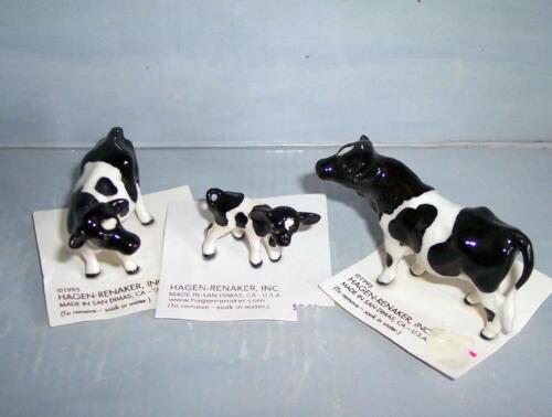 HAGEN-RENAKER COW, BULL AND CALF  NEW ON ORIGINAL CARD