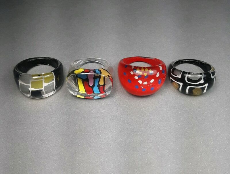 Vintage Lot of Colorful Lucite Rings Estate Jewelry Collection Sizes 6 7 8