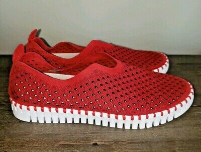 ILSE JACOBSEN Tulip Perforated Slip-On Sneaker RED Size 36 EU / 5.5 US