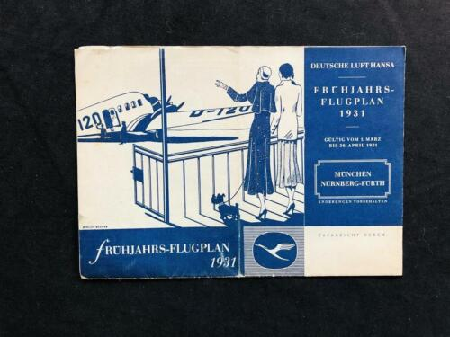 DEUTSCHE LUFTHANSA AIRLINE RARE ORIGINAL 1931 TIMETABLE POSTER BROCHURE BOOK