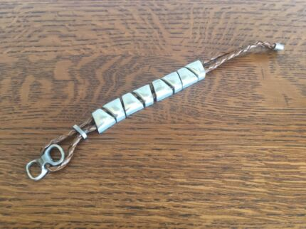 Steel Nugget and Cord Bracelet