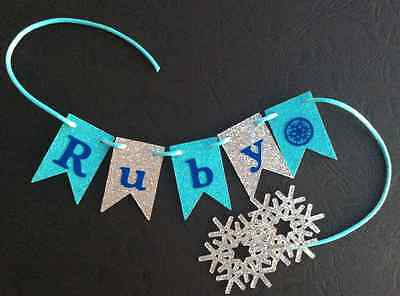 Personalised Cake Bunting Cake Topper - Flags, Garland, Glitter for FROZEN PARTY](Frozen Decorations For Parties)