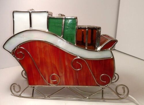 Vintage  Christmas Holiday Leaded Stained Glass Lighted Sled Sleigh