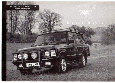 Range Rover Classic Accessories Price List 1996 UK Market Foldout Brochure