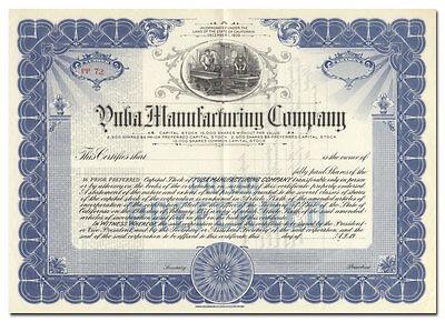 Yuba Manufacturing Company Stock Certificate (California Dredge Maker)