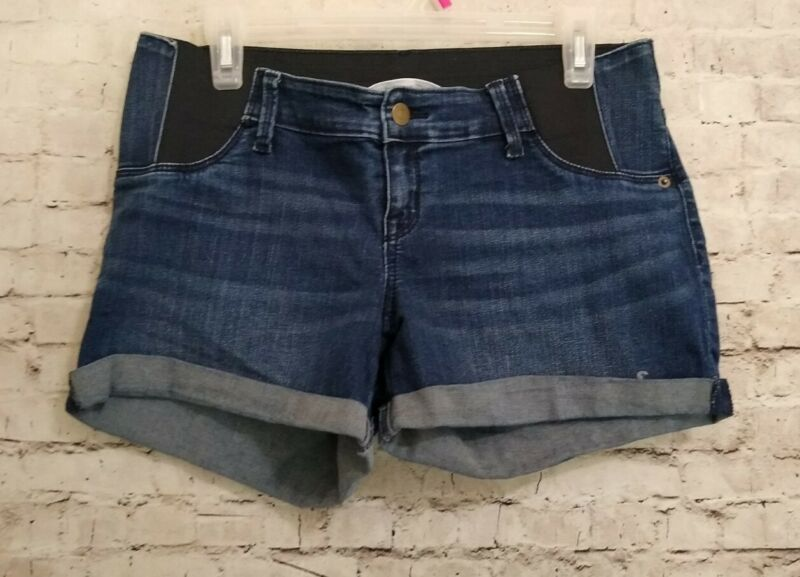 Isabel Maternity Midi Denim Shorts Roll Cuff size 4 Side Panels