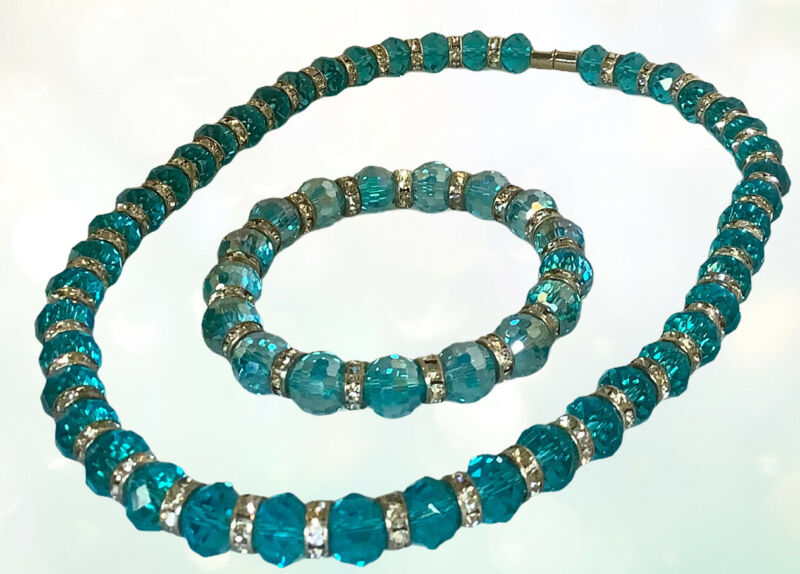 Vintage Turquoise Crystal Magnetic Jewelry Set