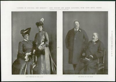 1904 Antique PORTRAIT  Print - ROYALTY King Edward King Carlos Queen Amelie (359