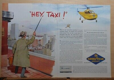 1945 double page magazine ad for Goodyear Aircraft - helicopter taxi service