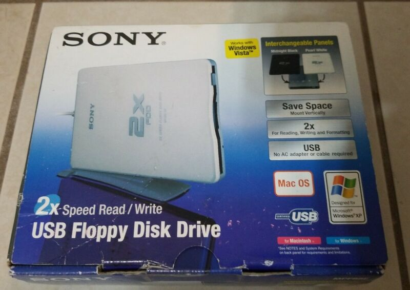 Sony USB Floppy Disk Drive 2x speed read write USB connect MPF88E NEW Open Box