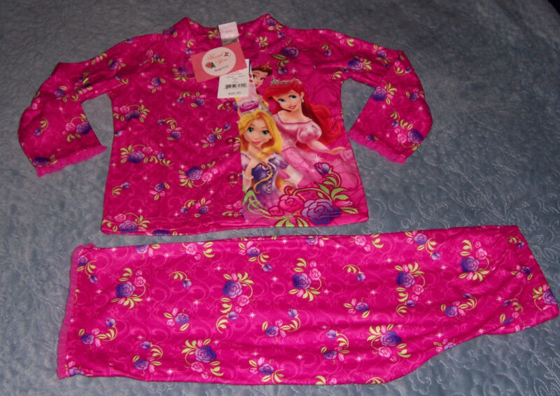 Disney Princess Little Girls Size 4 Belle Ariel Rapunzel Pink Flannel Pajamas