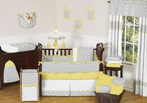 Complete Yellow Chevron Nursery Bedding Set with Mobile