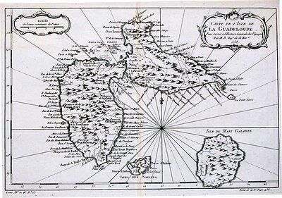 Antique map, Carte De L'Isle de la Guadeloupe
