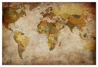 Canvas Print Home Office Decor Wall Art World Map Poster Painting Picture Framed