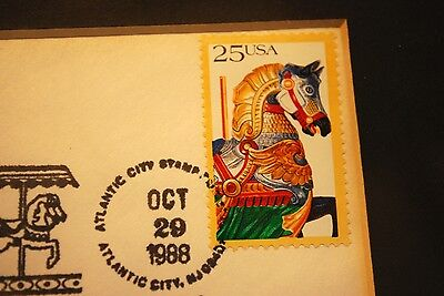 FRAMED American Folk Art Series Carousel Animals 25c Cancelled Stamps Set Of 4  - $19.99