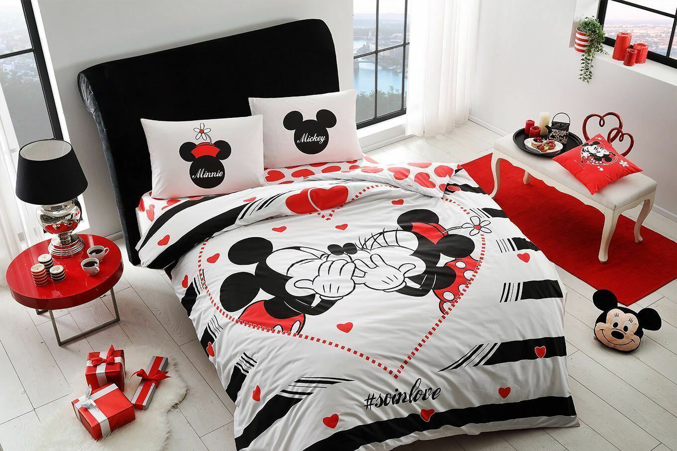 duvet quilt cover set disney mickey minnie mouse double quee