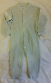 NEW Ralph Lauren light blue honeycomb sleepsuit 6m