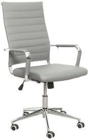 Office Chair Ribbed Leather Swivel Adjustable Height Tilt Arm Sleeves Lumbar Support High Chair