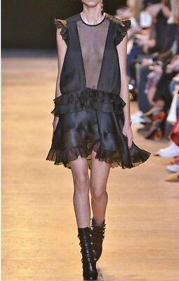 Black Silk Organza Pleated Dress - Isabel Marant Pleated Organza Silk Dress Black Ruffle Vila Runway Mini Us 2 Fr34