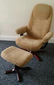 Chair reclined and foot stool comfortable fabric