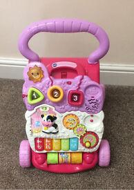 VTECH pink push baby walker