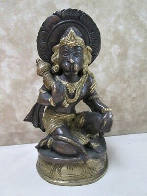 "Vintage HINDU STATUE, NARSIMHA Lion Head GOD,Brass,Bronze,6 1/4"" Tall"