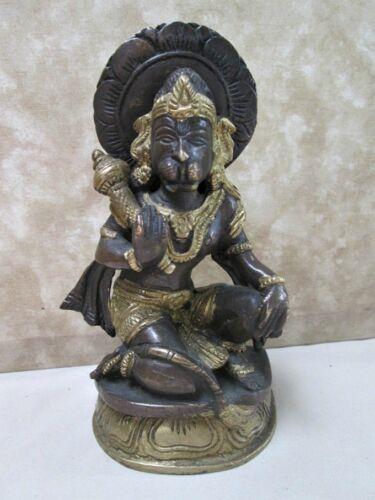 "Vintage HINDU STATUE, HANUMAN Monkey GOD,Brass,Bronze,6 1/4"" Tall"