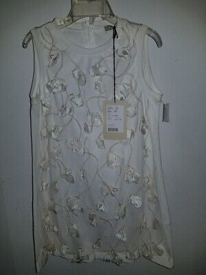 New Mimisol Made in Italy Ivory White Flowers Party Pageant Dress Sz 6 Ret$199