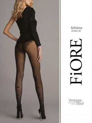 FIORE ADRIANA STRIPES BOWS FRENCH CUT 30 DEN PANTYHOSE TIGHTS 3 SIZES BLACK  Black Striped Tights Pantyhose