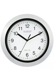 10 ATOMIC ANALOG WALL CLOCKS Silver Home Decorative Round Manual Setting Clock
