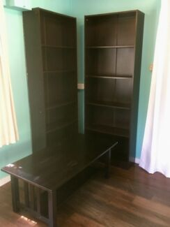 Bookcases/Shelving /Cabinets x2, plus coffee table