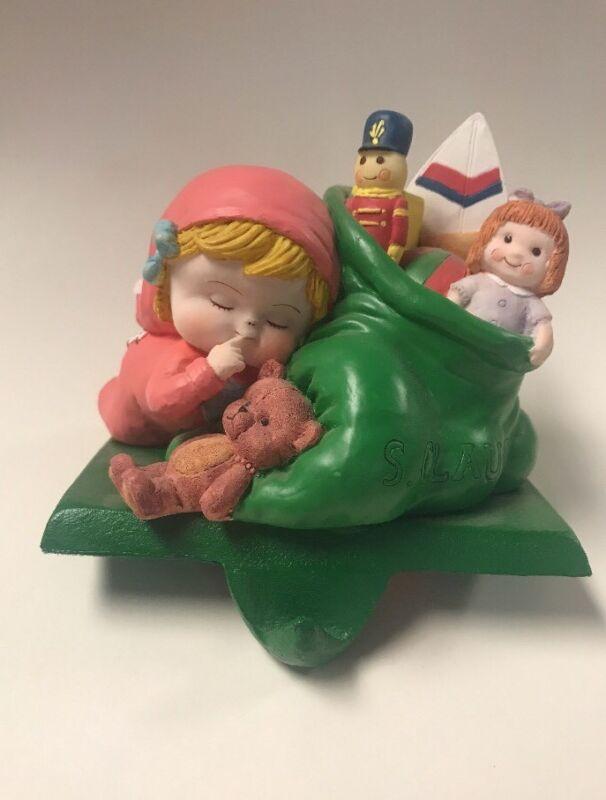 simson giftware little girl with santas bag stocking holder