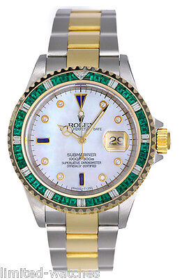 Rolex Submariner Two Tone 16613 Watch, White Pearl Diamond Dial & Green Bezel