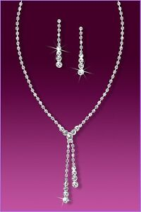 Wedding Bridal Beautiful Rhinestone Crystal Tennis Drop Necklace and Earring Set