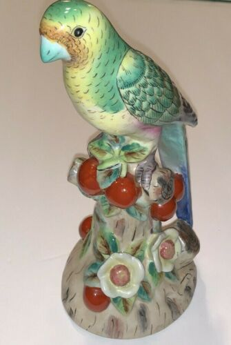 """Vintage Hand-painted Andrea by Sadek Porcelain Parrot Figurine 9-1/2"""" Tall"""
