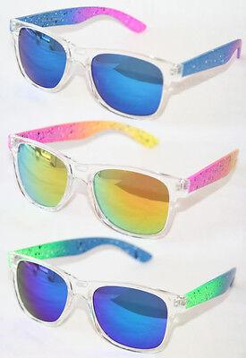 Retro Sonnenbrille Graffiti neon Damen und Herren blau pink grün gelb 300
