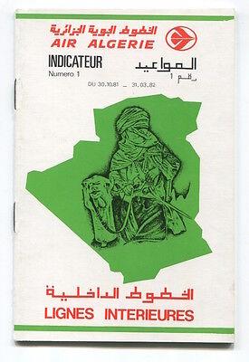 AIR ALGERIE DOMESTIC TIMETABLE WINTER 1981/82