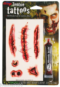 *HALLOWEEN ZOMBIE SCARS TATTOOS WITH FAKE SCAB BLOOD SPECIAL FX COSTUME MAKE-UP*