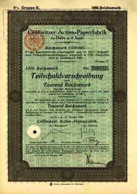 Cröllwitzer Actien Papierfabrik 1926 Halle Saale Sennewitz Trotha  Berlin Gr. II