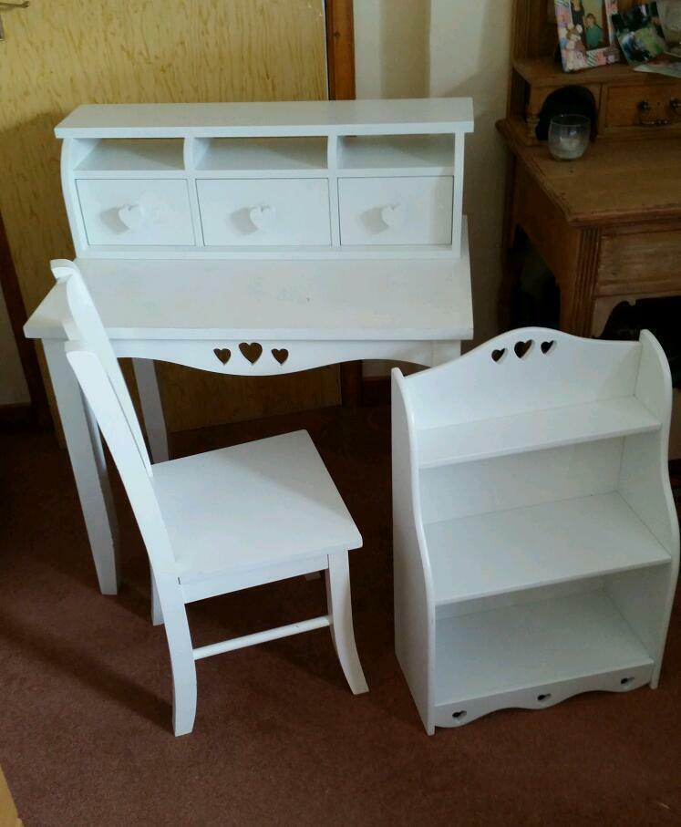 Next girls desk with chair bookcase and drawers set