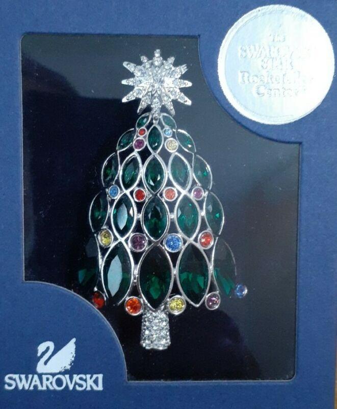 Swarovski Rockerfeller Center Christmas Tree Brooch Pin 1515160 Original Box