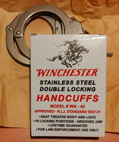 Winchester Handcuffs, Double Locking Stainless Steel, Police